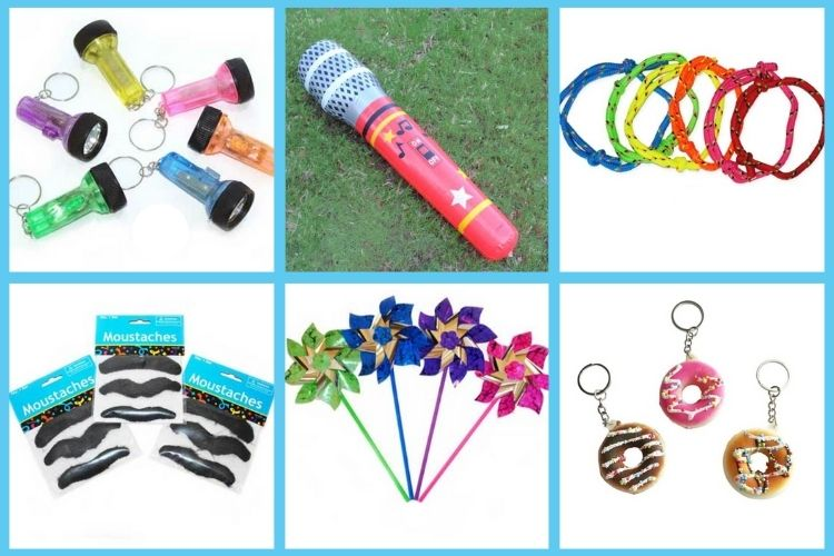 Adult carnival prize ideas including pinwheels, donut keychains and mini flashlights.