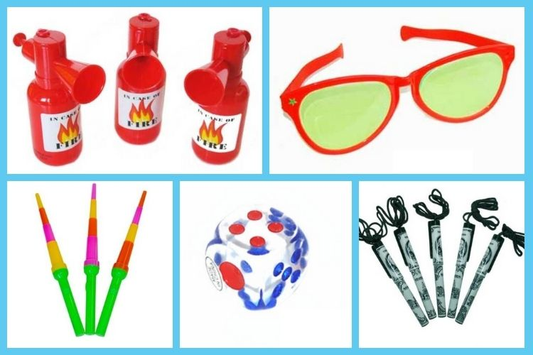 Adult carnival prizes - silly glasses, squirters, pens on a rope and more!