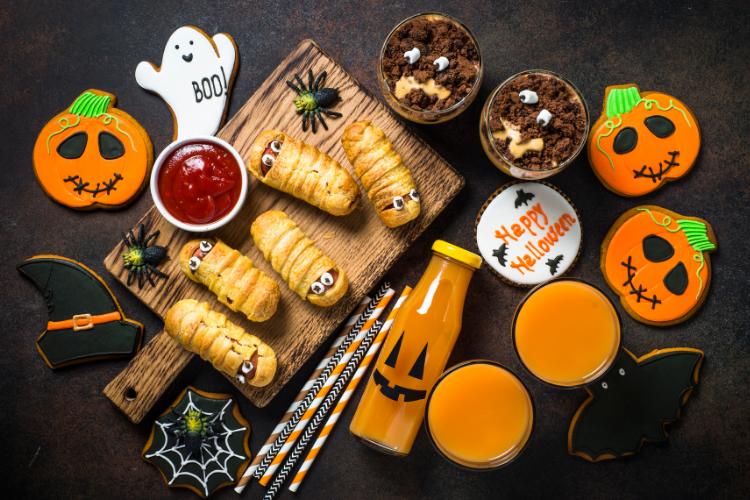 Assorted yummy Halloween food