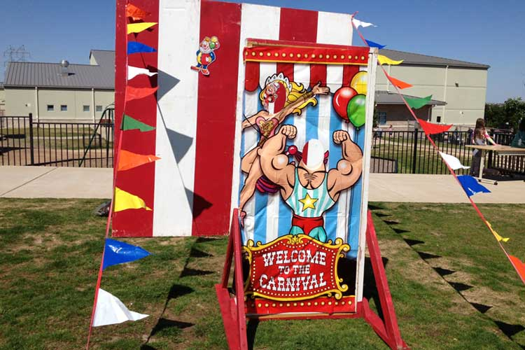 School carnival booth - outside before carnival starts