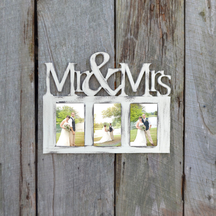 Painted Mr. & Mrs. Wooden Picture Frame