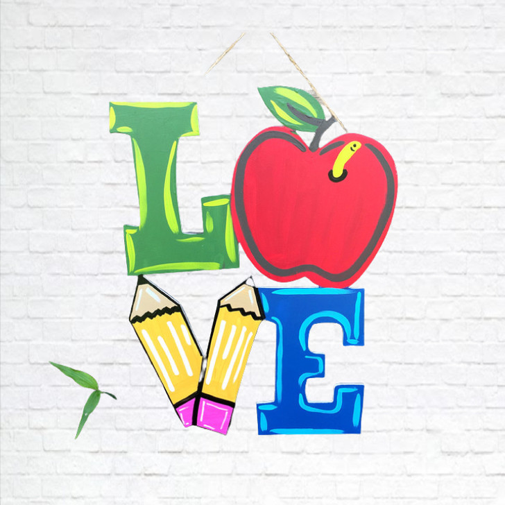 """18"""" Teacher Love with Apple Door Hanger, Finished Product, BAC Home"""