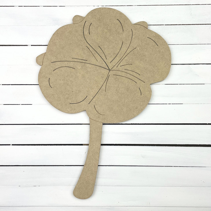 Cotton Boll on Long Stem,  Unfinished Wooden Craft Shape