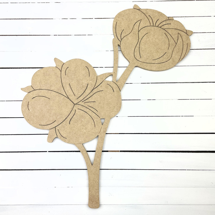 Cotton on Stem, Unfinished Paint by Line Craft Shape