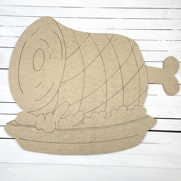 Holiday Ham, Unfinished Wooden Cutout