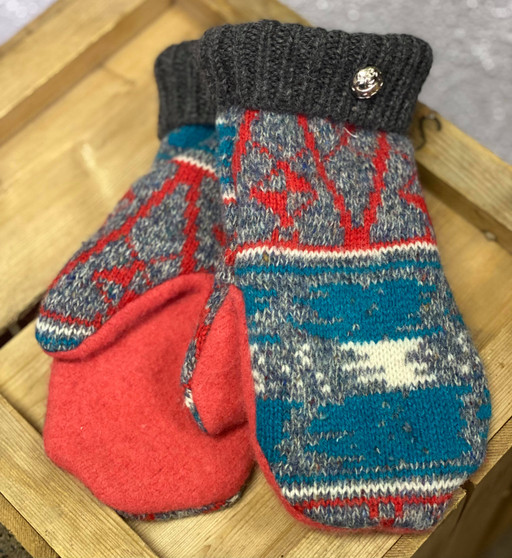Mittens - #2 Grey/Red/Teal Pattern