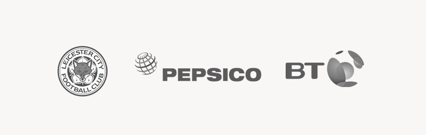 supplier logos: Leicester Football Club, Pepsico, BT