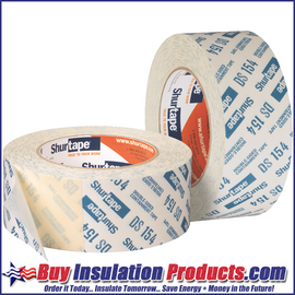 Shurtape DS 154 Double Sided Tape has Frog Tape 21 Day release tape on one side and an agressive adhesive on the other side.