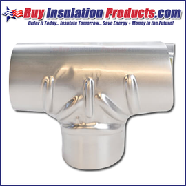 Aluminum Pressed Tee Covers are used to cover pipe insulation at Tee joints of an exterior metal insulation system.