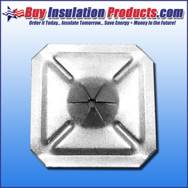 "1-1/2"" x 1-1/2"" Square Self-Locking Washers for 12 ga Perforated and Self-Sticking Insulation Hanger Pins."