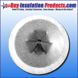 "1-1/2"" Diameter Round Self-Locking Washers for Perforated and Self-Stick Insulation Hanger Pins."