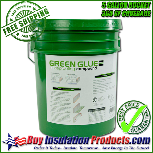 A 5 Gallon Bucket of Green Glue Noisproofing Compound covers 365sf of a wall/ceiling when using a rate of 2 full dispensers of the pail applicator gun per sheet of 4 x 8 drywall.