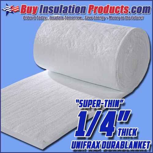 """Super-Thin"" Unifrax Durablanket is a 6lb Density Ceramic Insulation Blanket that is only 1/4"" thick!"