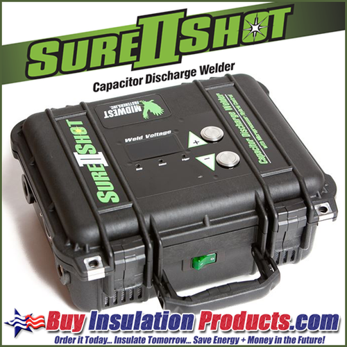 Midwest Fastener - Sure-Shot II Mini-Cup Weld Pin System for installing insulation board and liner to HVAC sheetmetal ductwork.