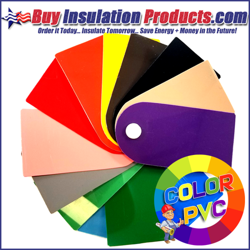 Color PVC Sample Pinwheel allows you to see all 13 colors in person before ordering color PVC fitting covers and jacketing from our store.