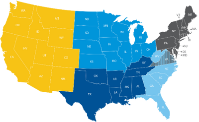 States included in each region
