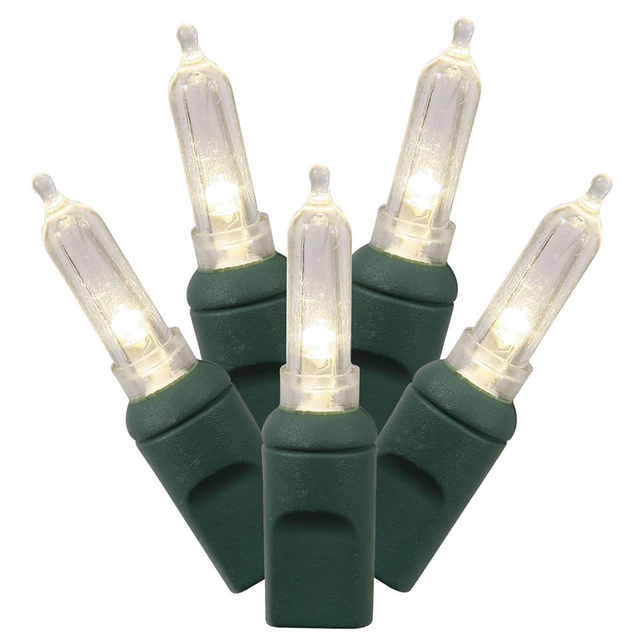 50 Warm White LED Mini, Green Cord 6in Spacing.