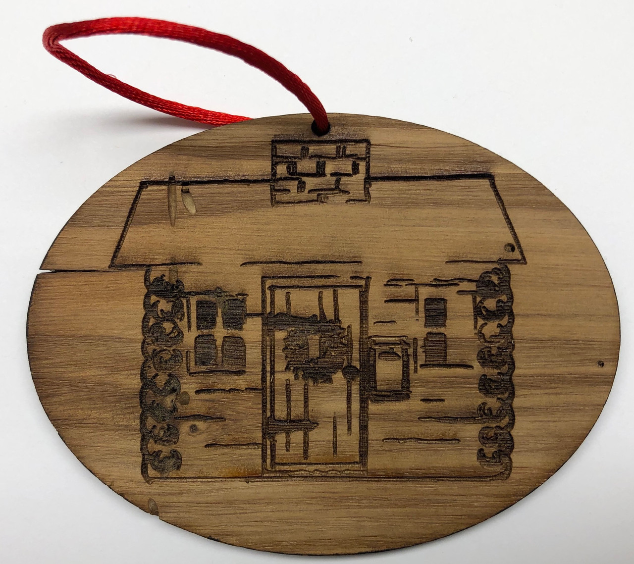 Santa Cabin Timber Ornament - Oval