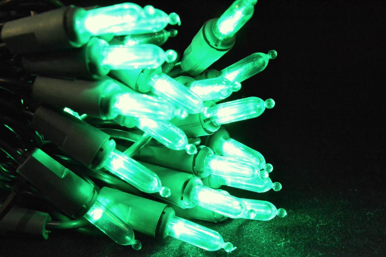 50 LED Green, Green Cord