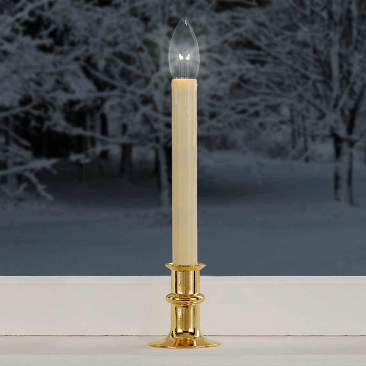 Battery Candle Dual Intensity LED with Timer, Adjust Brass