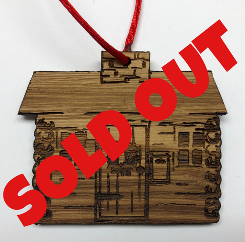 Santa Cabin Timber Ornament - Cutout