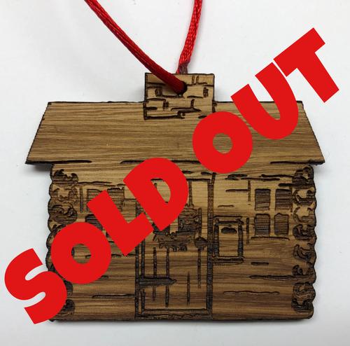 Santa Cabin Timber Ornament - Cutout