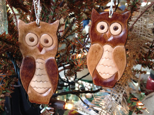 Leather Owl Ornament - Handmade