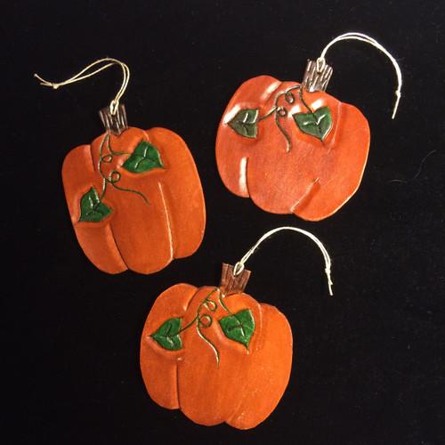 Leather Pumpkin Ornament - Handmade