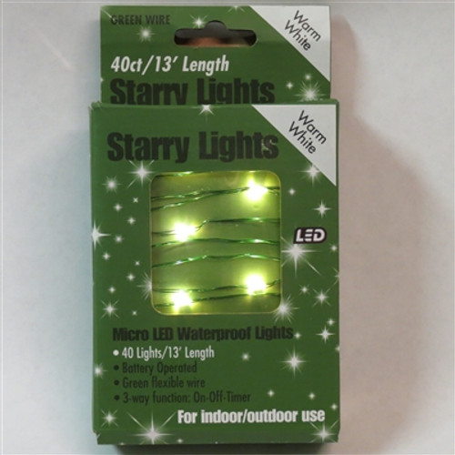 40 Battery Fairy Lights, LED Warm White- Green Wire In/Out