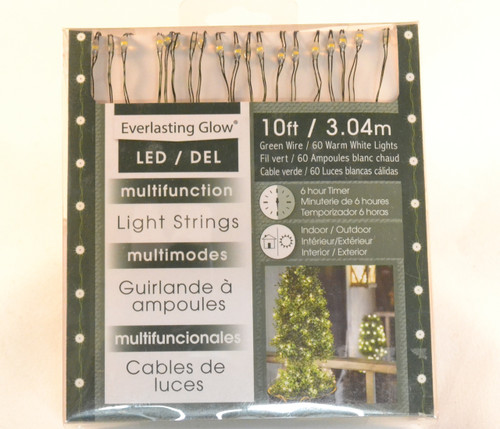 60 3 Function Battery Fairy Lights, LED Warm White- Green Wire In/Out