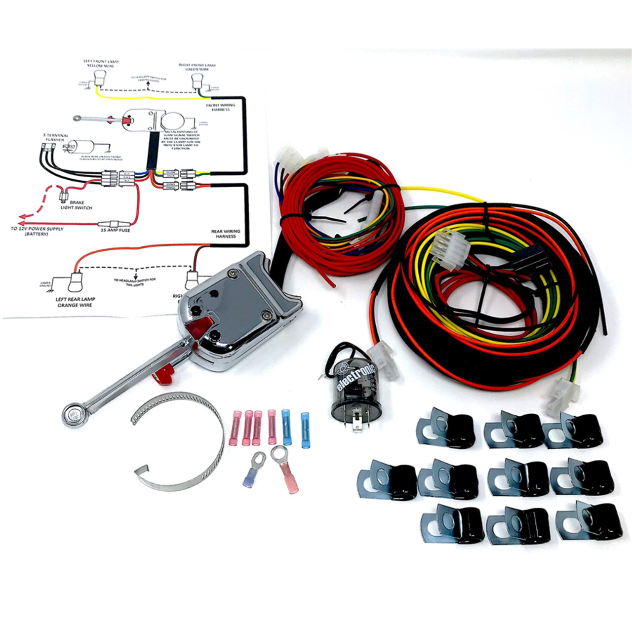 Turn Signal Switch and Complete Wiring kit  12 volts - TS01