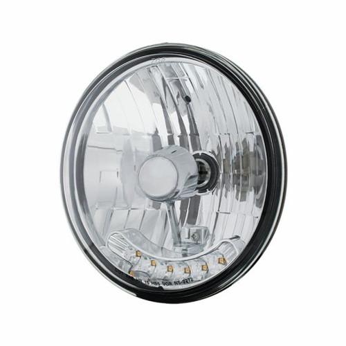 "7"" Crystal Headlight W/ 6 Amber LED Position Light - 31247"