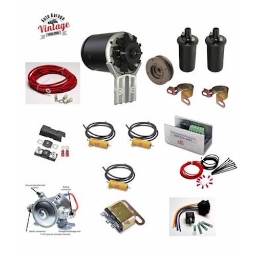 1936-1948  Lincoln Zephyr 12 Volt Conversion  Kit with coil adaptor, rebuilt distributor and condensers - LZ3648DK