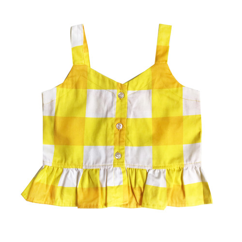 Ruffle Tank Top - Gingham-Yellow