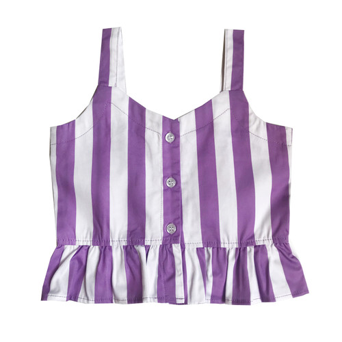 Ruffle Tank Top - Stripes-Purple
