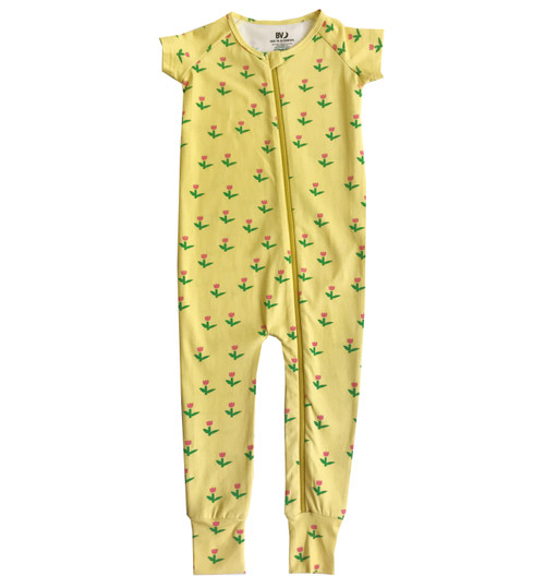 Zippy Romper Short Sleeve - Tulips-Yellow