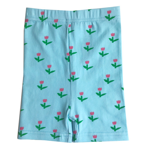 Biker Shorts - Tulips-Blue