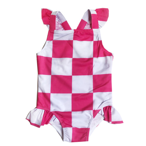 Ruffle Swimsuit - Checkers-Pink