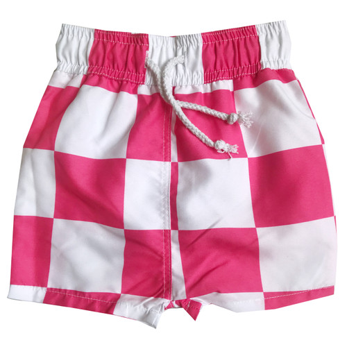 Swim Trunks - Checkers-Pink
