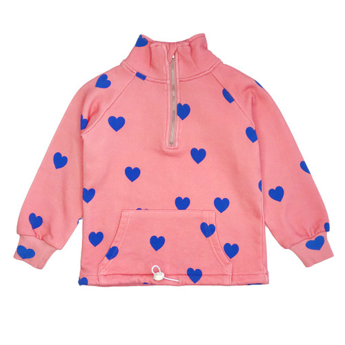 Half Zip Sweatshirt -Hearts