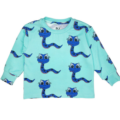 Long Sleeve Tee Shirt - Snakes-Blue