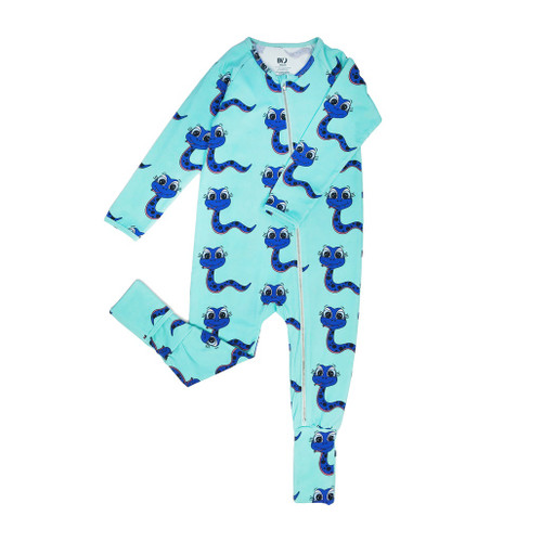 Long Sleeve Zippy Romper - Snakes-Blue