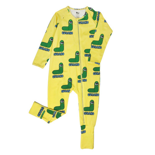 Long Sleeve Zippy Romper - Worm-Green
