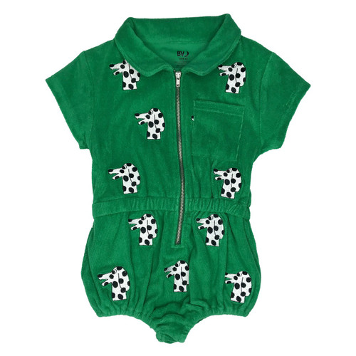 Terry Embroidered Playsuit - Dalmatian-Green