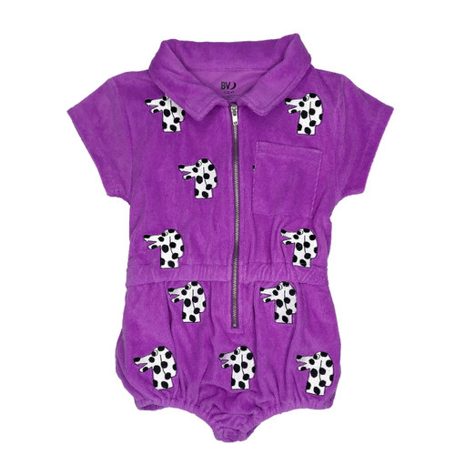 Terry Embroidered Playsuit - Dalmatian-Purple