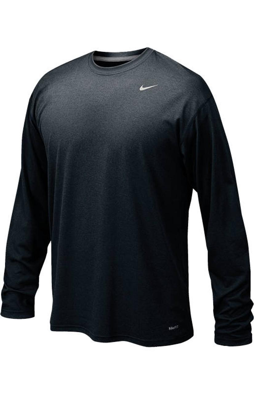 136d0b7e5252d Nike Legend Boys Long Sleeve T-Shirt - Black Matte Silver - Athlete ...