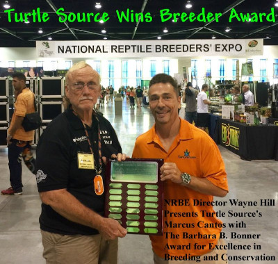 Marc Cantos from The Turtle Source is awarded breeder of the year award.