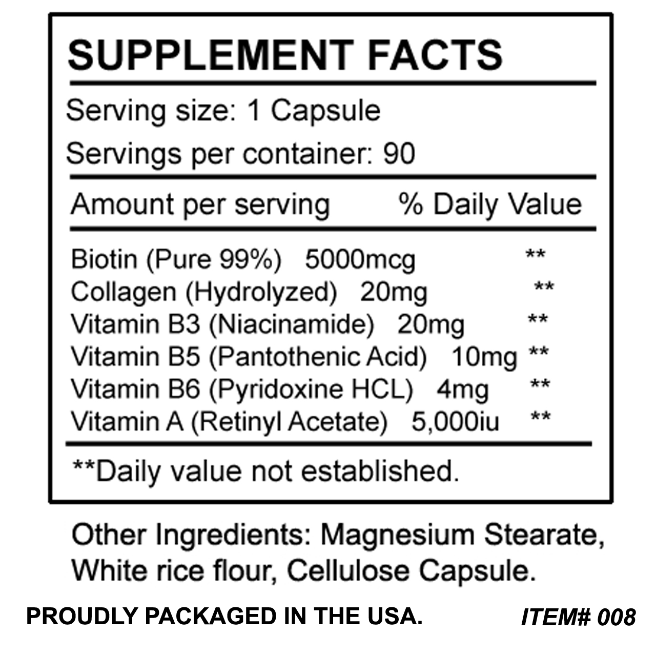 Biotin 5000 mcg plus Collagen for Hair, Skin, and Nails 90 Capsules
