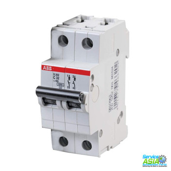 ABB S202-C32 Circuit Breaker, 2-P, 32A/480V, C 480Y/277VAC, UL1077 Recognized, 6KAIC, DIN Mount