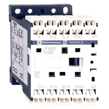 SCHNEIDER  LP4-K09013BW3 CONTACTOR 9AMP 4P 24VDC W/1NC AUX